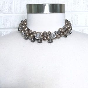 White House Black Market Gray Pearl Layer Necklace